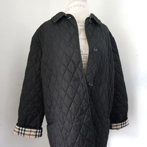 BURBERRY London Black Quilted Collared Trench Coat